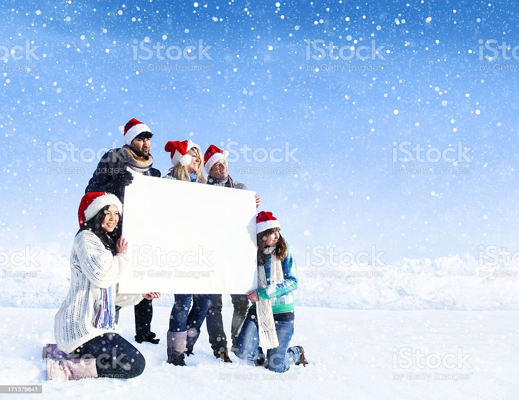Young People holding blank sign royalty-free stock photo