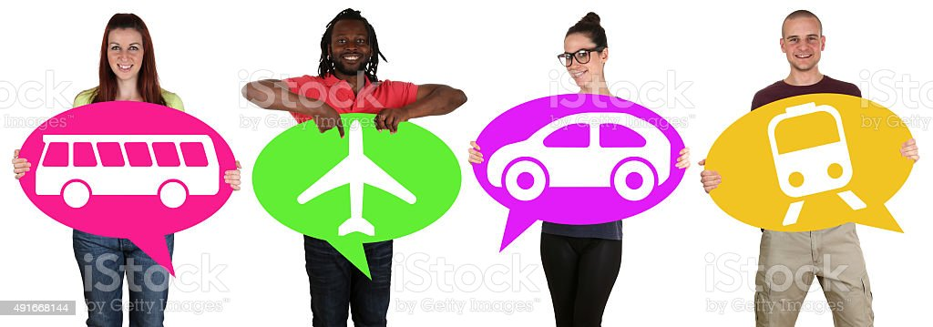 Young people holding speech bubbles with bus, train, car plane stock photo