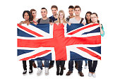 Young People Holding Union Jack