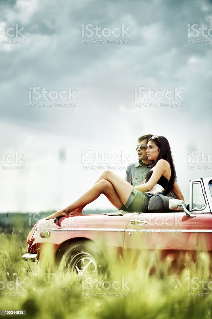 Young people in a Field royalty-free stock photo