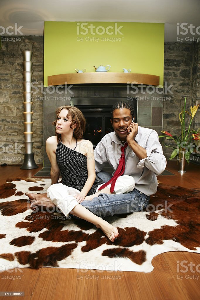 Young people in a living room royalty-free stock photo