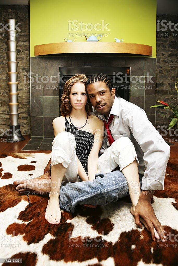 Young People in a Living Room, Posing royalty-free stock photo