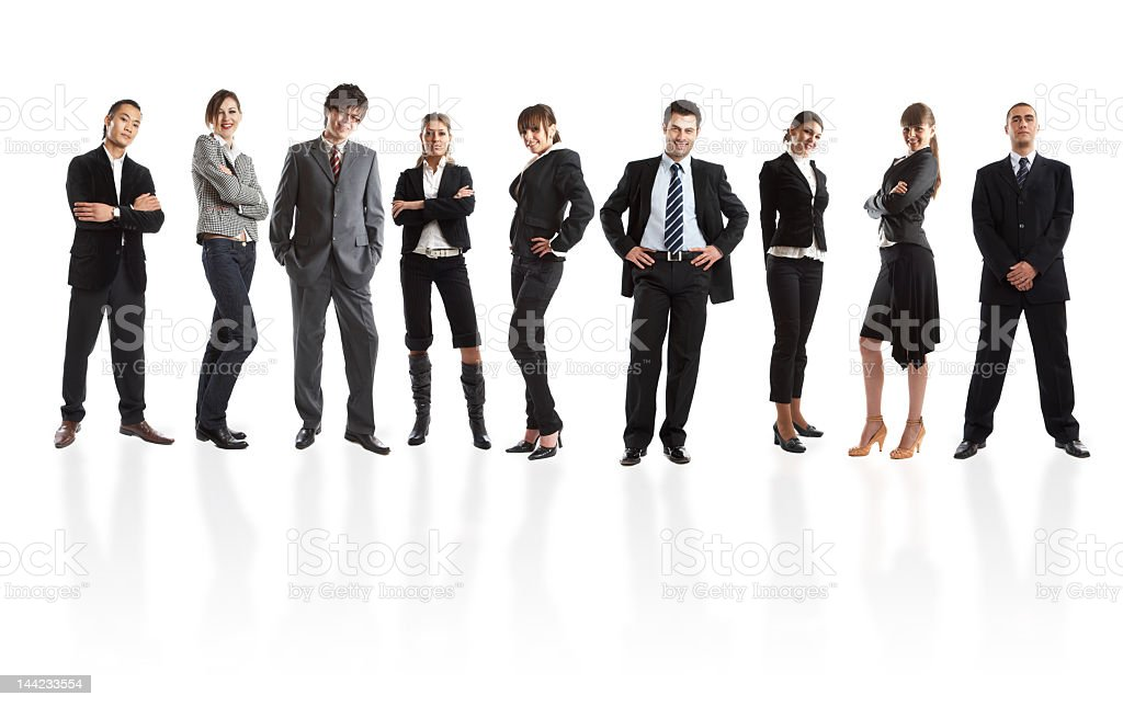 Young people in business attire with confident poses royalty-free stock photo