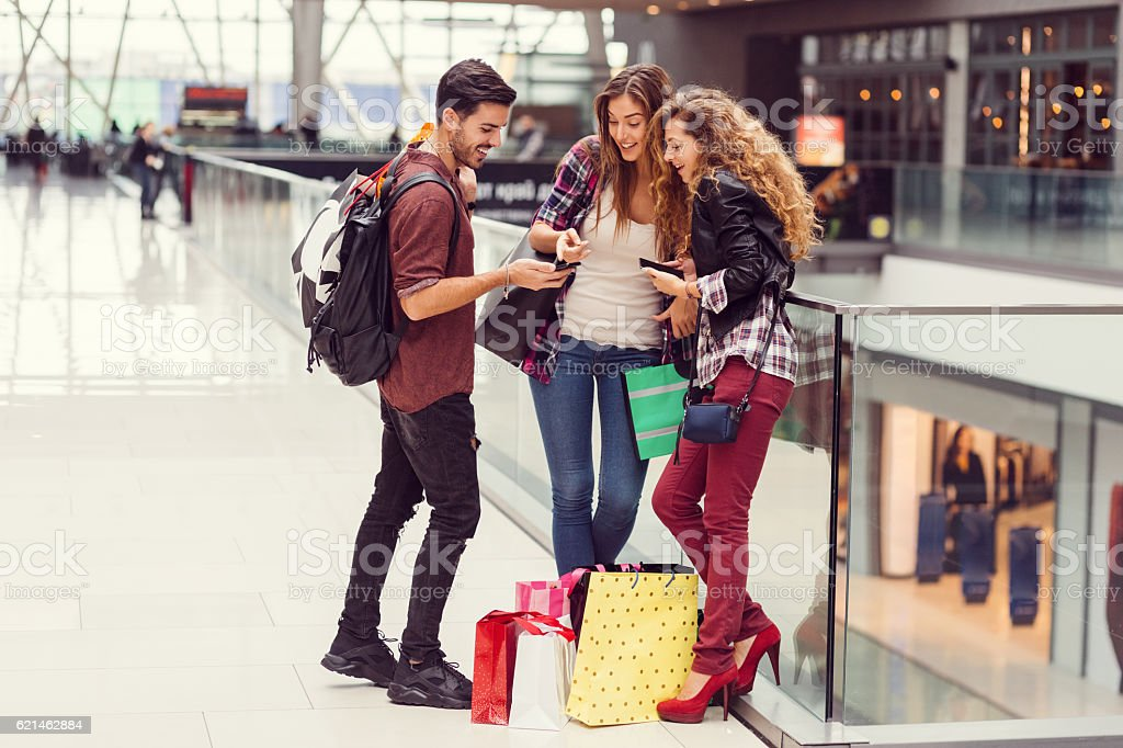 Young people in the shopping mall stock photo