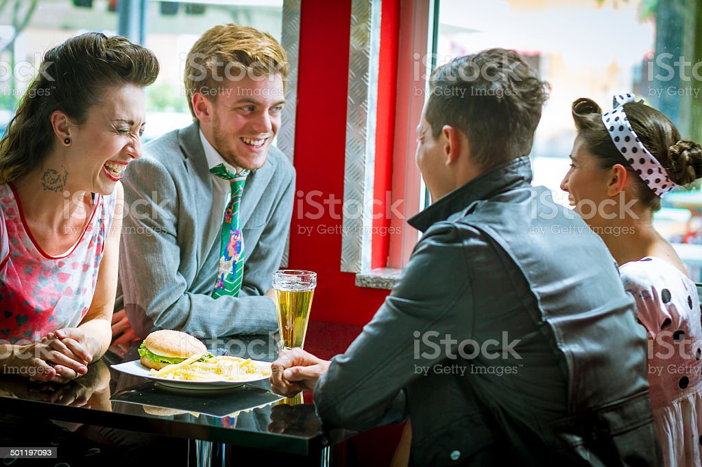 Young people in vintage bar - 1950's style stock photo