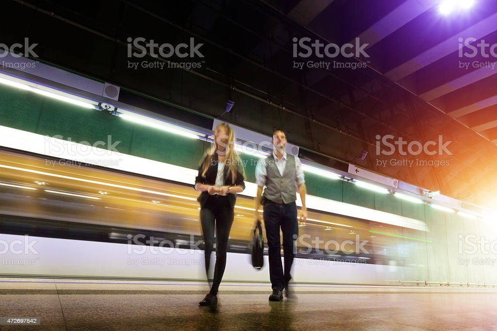 young people leaving the subway station stock photo