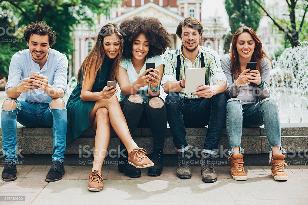 Young people networking stock photo