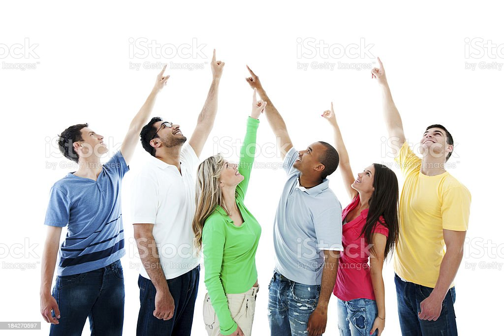 Young people pointing upwards. royalty-free stock photo