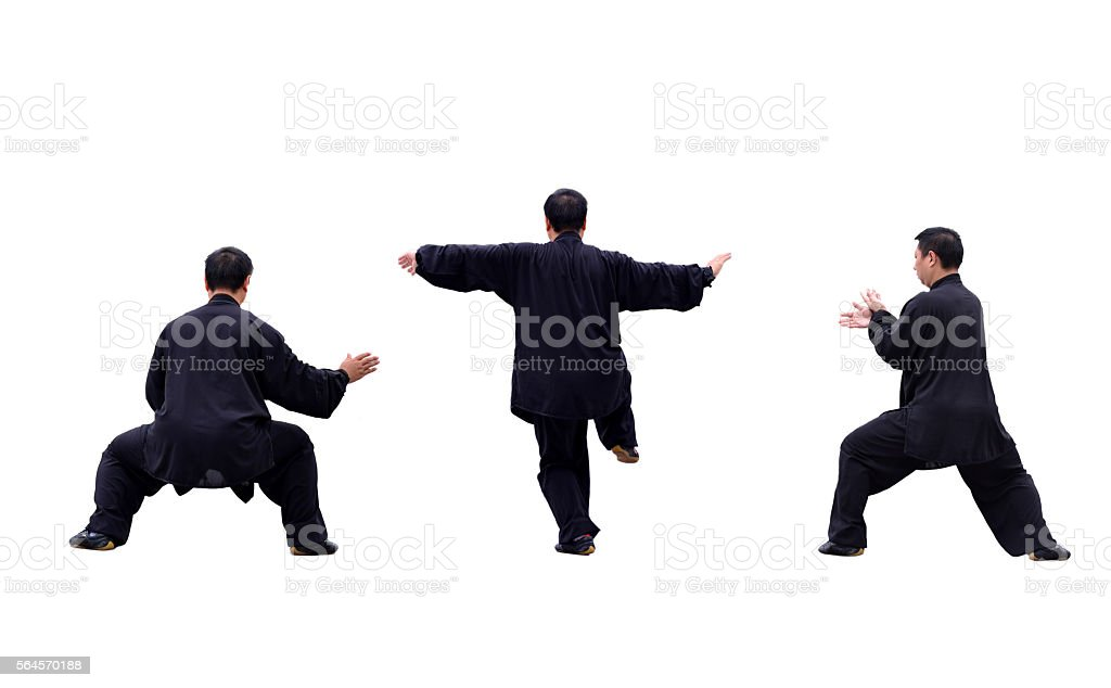 Young people practicing tai chi stock photo