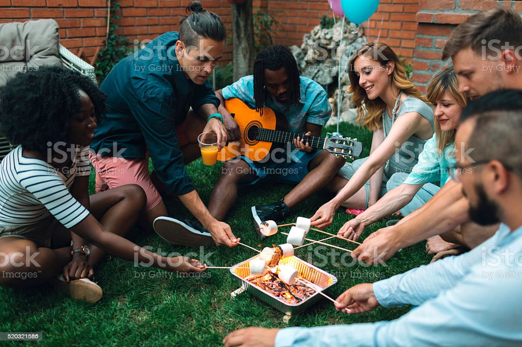 Young People Roasting Marshamallows On Open Fire. stock photo
