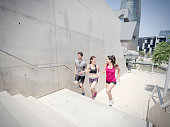 Young people running in the city