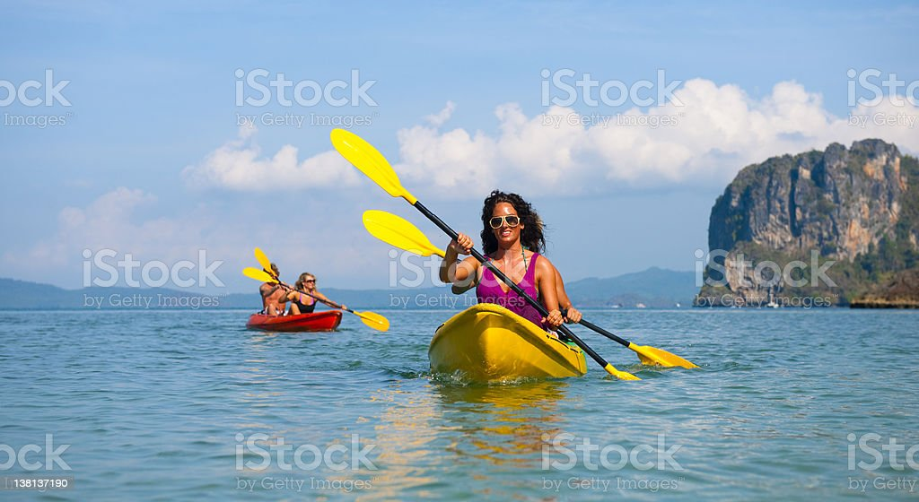 Young people sea kayaking in Thailand royalty-free stock photo