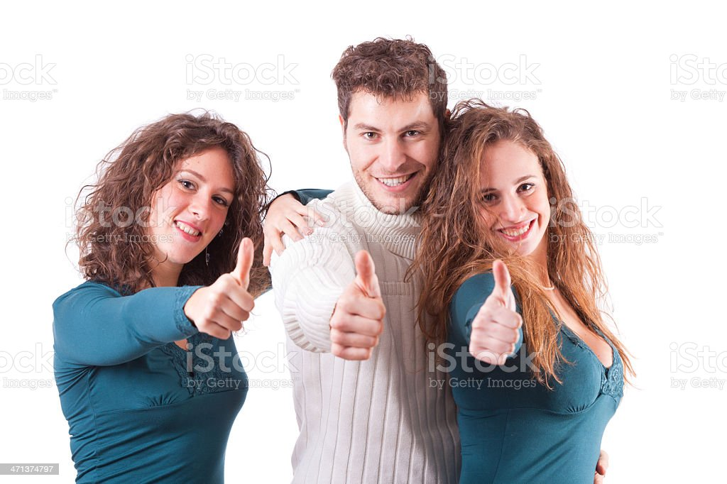 Young People Showing Thumbs Up royalty-free stock photo