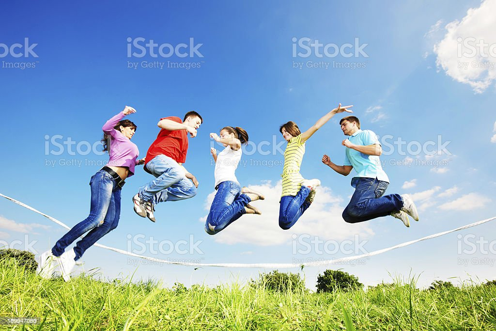 Young people skipping. royalty-free stock photo