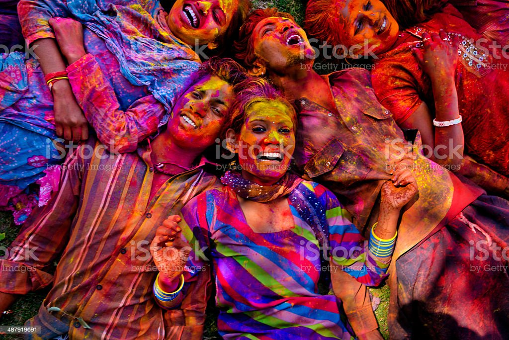 Young people smile in Jaipur during Holi Festival stock photo