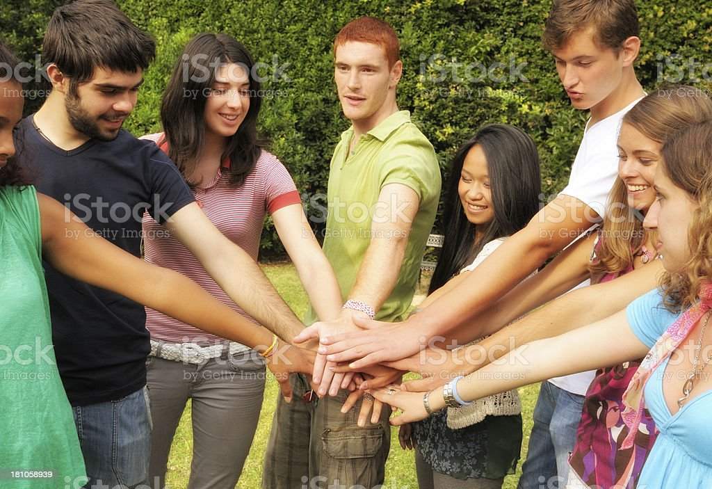 Young People Stack of Hands royalty-free stock photo