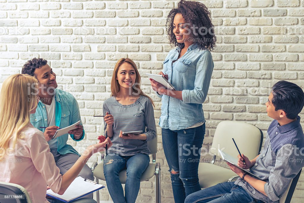 Young people studying stock photo