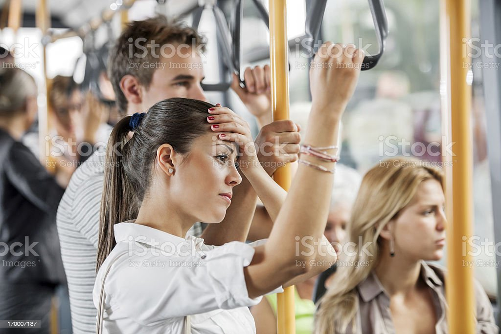 Young people travelling by bus. royalty-free stock photo