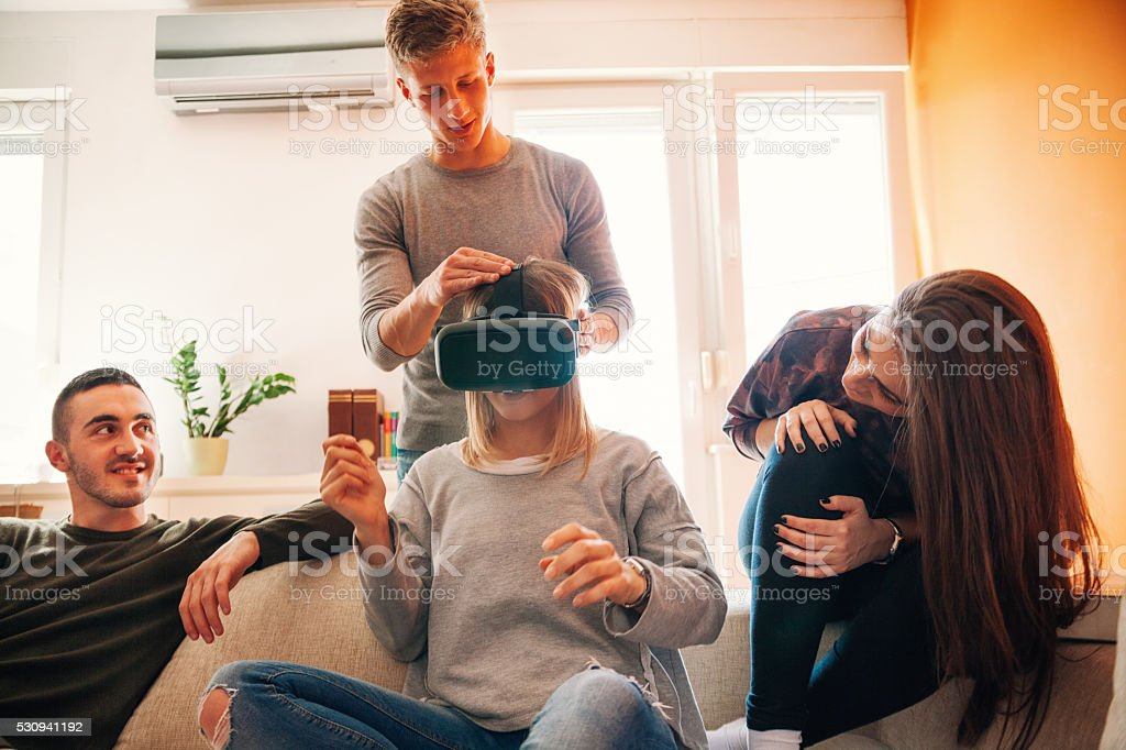 Young People Using VR stock photo