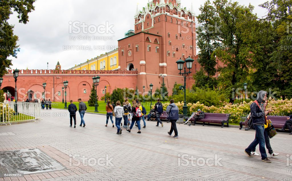 Young people (Russian teenagers) walk at Alexandrovsky Garden stock photo