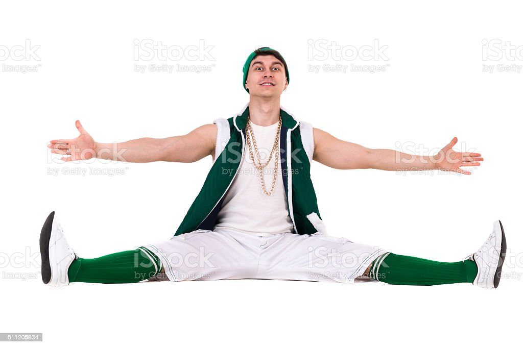 Young performer dressed like a funny gnome posing isolated on stock photo
