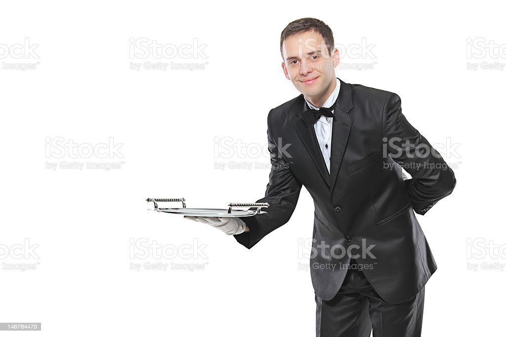 Young person holding a tray royalty-free stock photo
