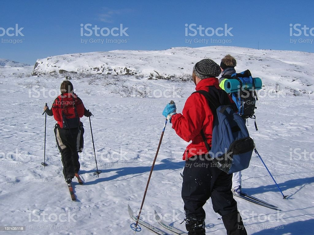 Young persons skiing royalty-free stock photo