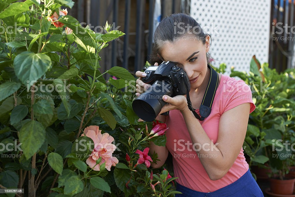 Young Photographer In Garden royalty-free stock photo