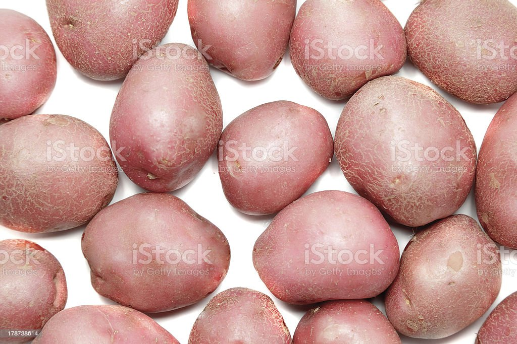 Young pink potato. Isolated stock photo