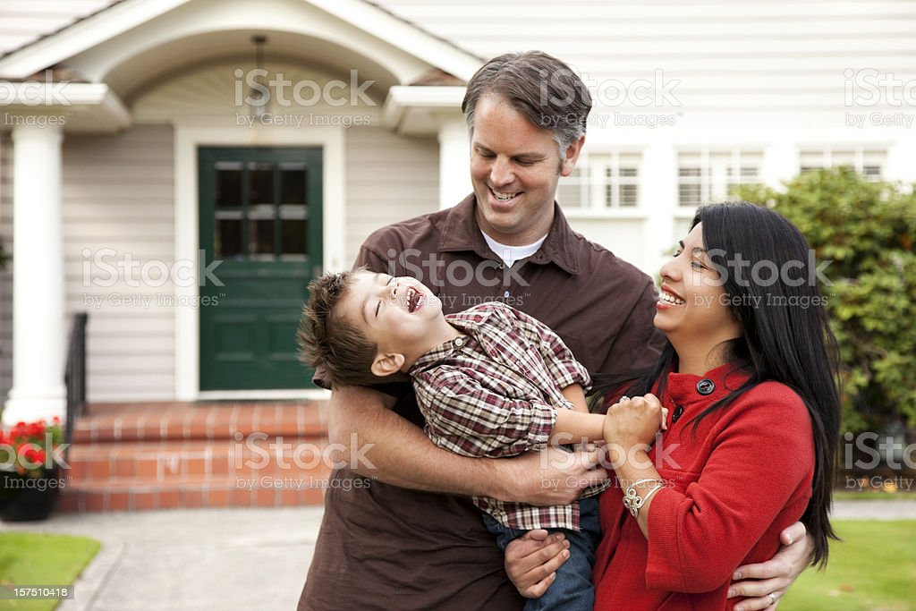 Young Playful Family at Home stock photo