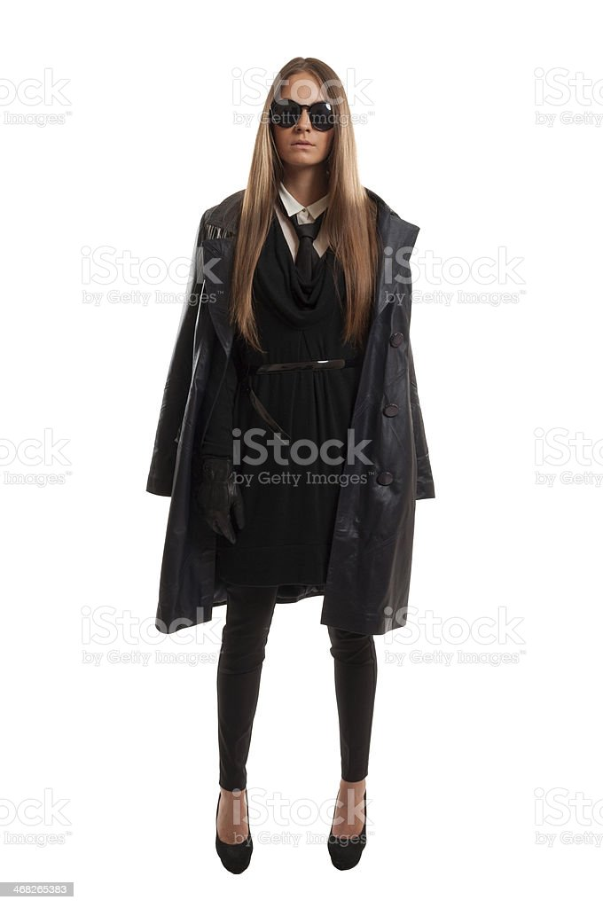 Young police woman undercover stock photo