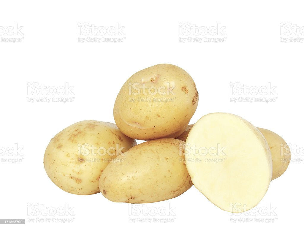 Young potatoes . Isolated stock photo