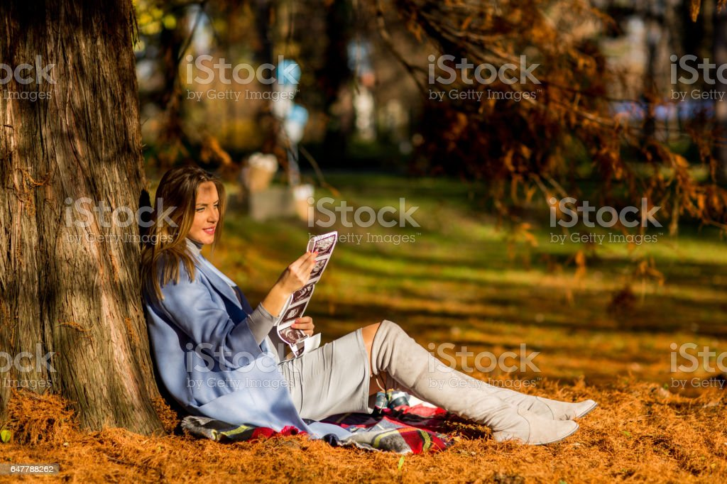 Young pregnant woman in the autumn park stock photo