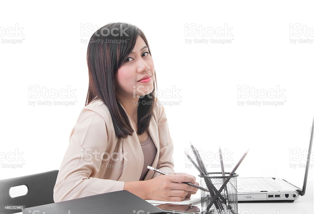 Young Pretty Business Woman at Workplace royalty-free stock photo