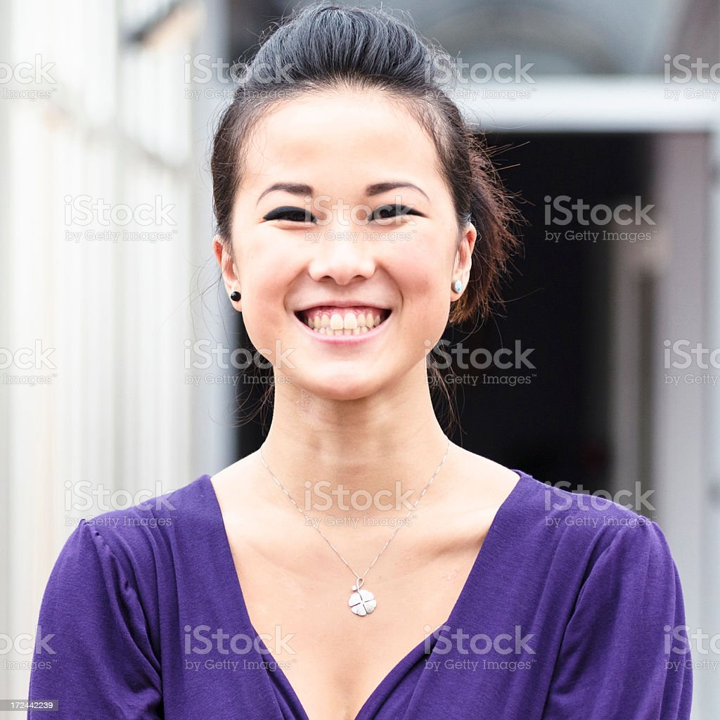 young pretty chinese girl smiling royalty-free stock photo