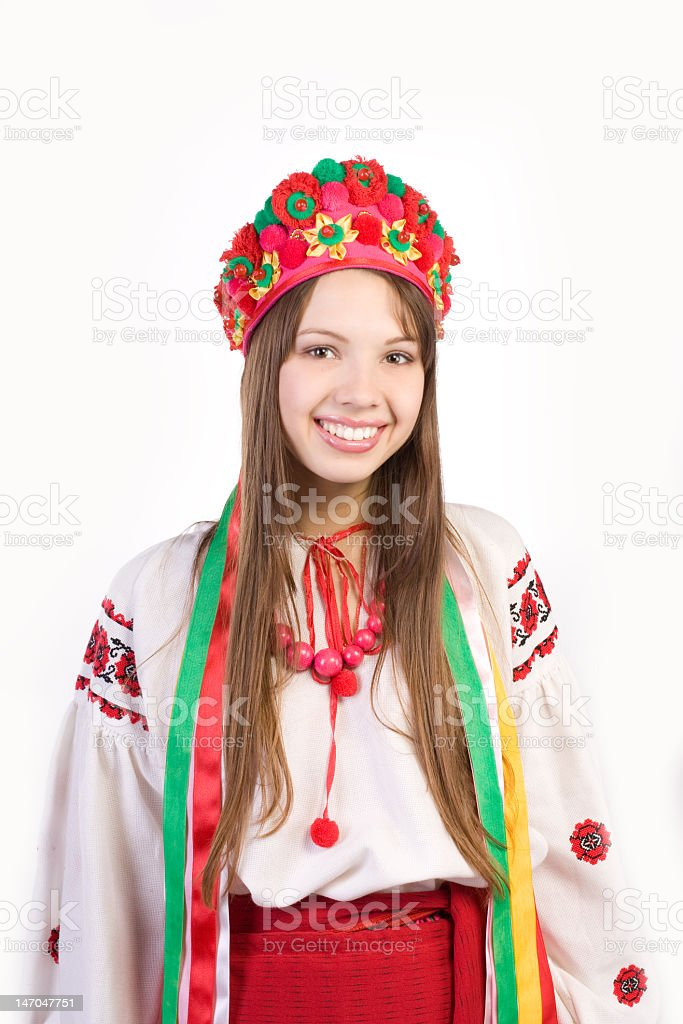 Young pretty girl in a ukrainian national costume royalty-free stock photo