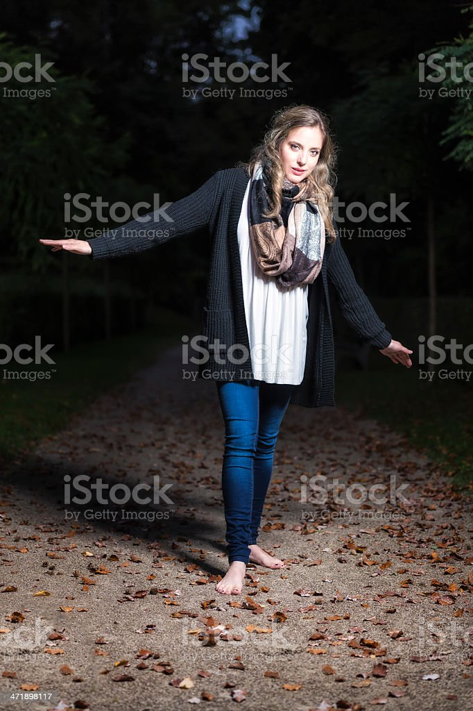 Young Pretty Girl Posing in the Night stock photo