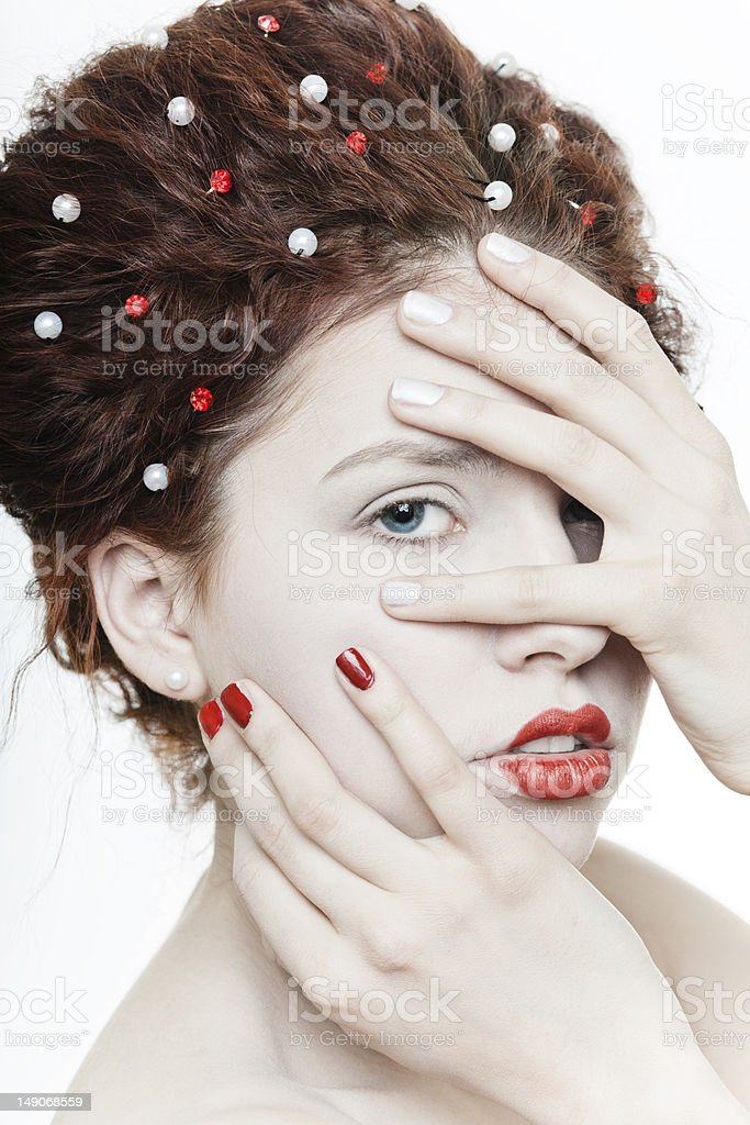Young pretty girl with red lips royalty-free stock photo