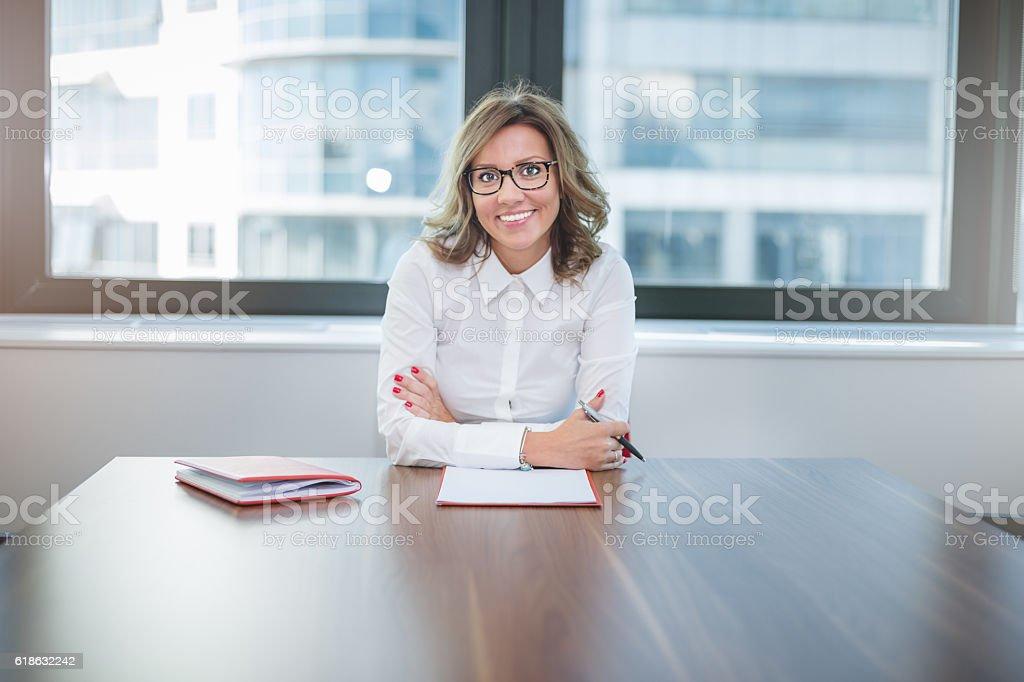 young pretty leader of small company , female CEO stock photo