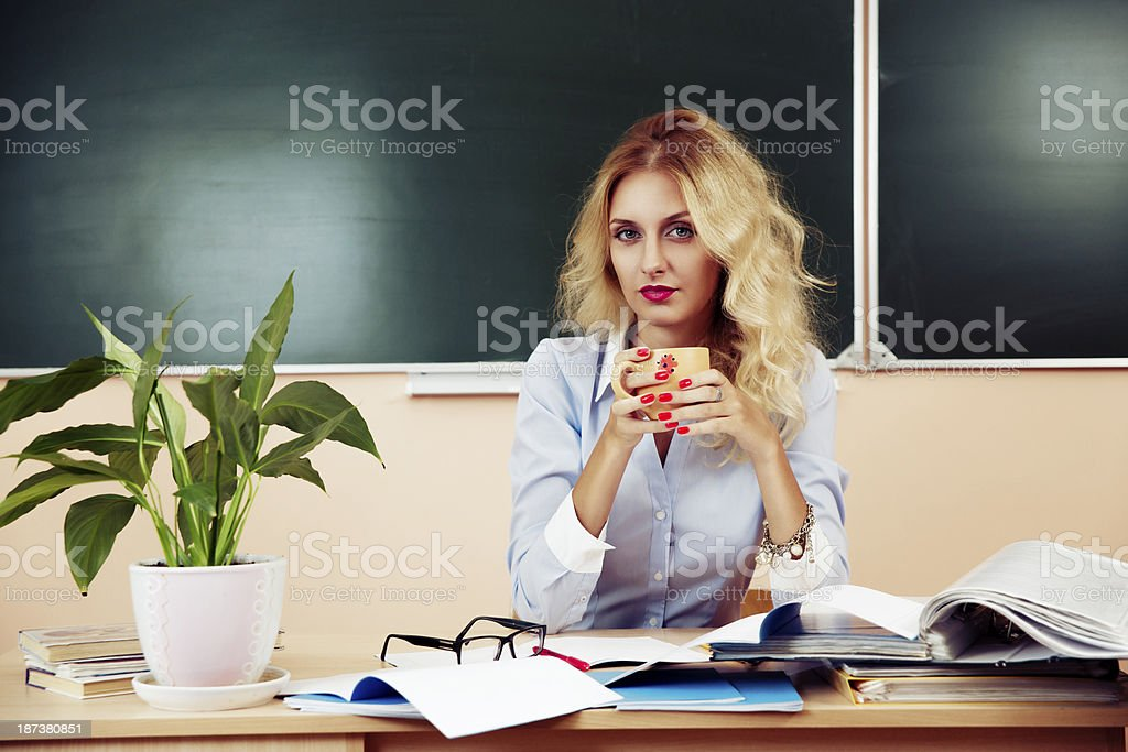 Young pretty teacher resting royalty-free stock photo