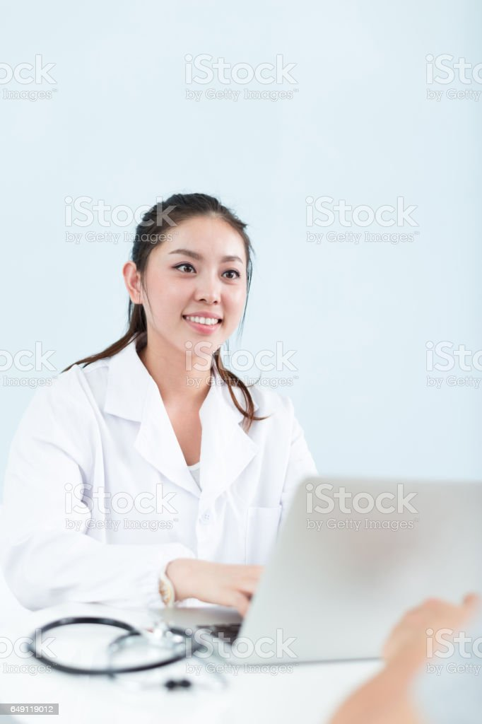 young pretty woman doctor in clinic stock photo