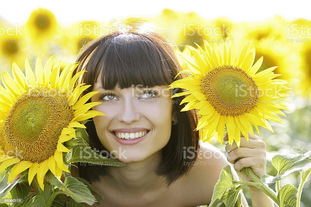 Young pretty woman on a sunflowers background royalty-free stock photo