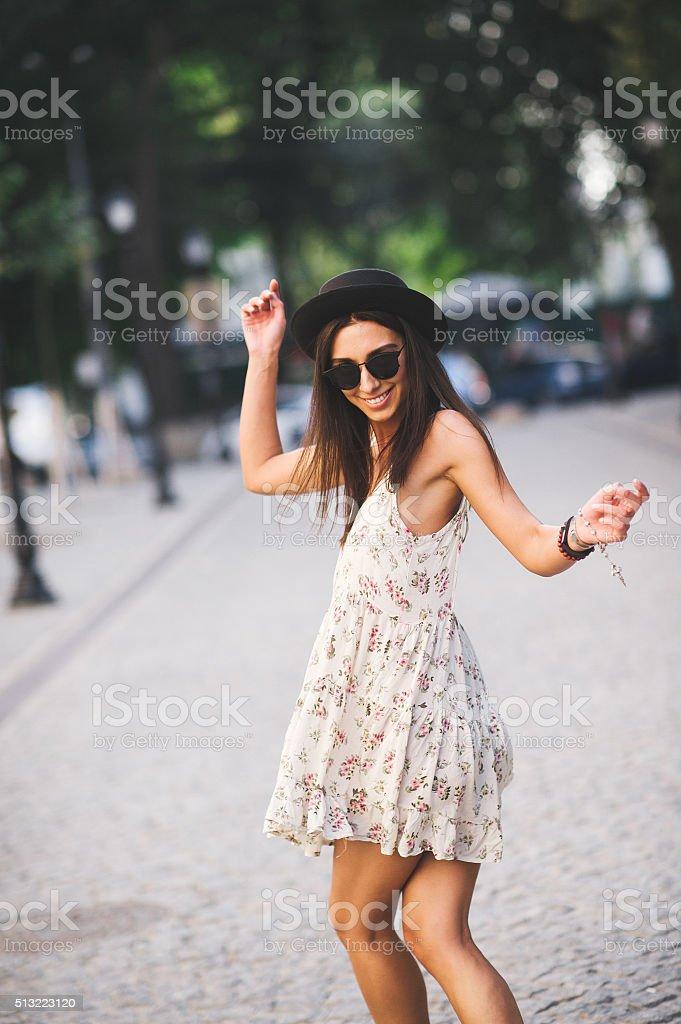 Young pretty woman outdoor fashion portrait. stock photo