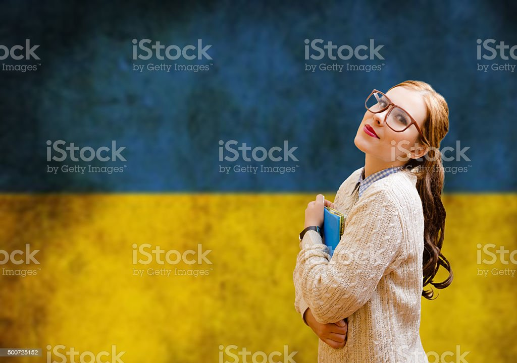 Young pretty woman student learning Ukrainian stock photo