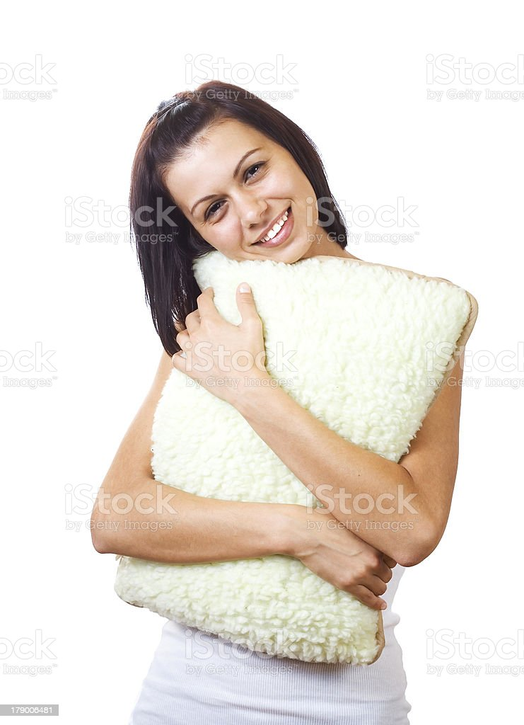 Young pretty woman with a pillow royalty-free stock photo