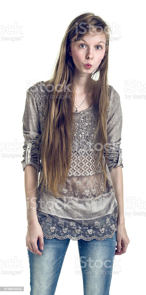 Young Pretty Woman with Long Hair Posing on White Background stock photo
