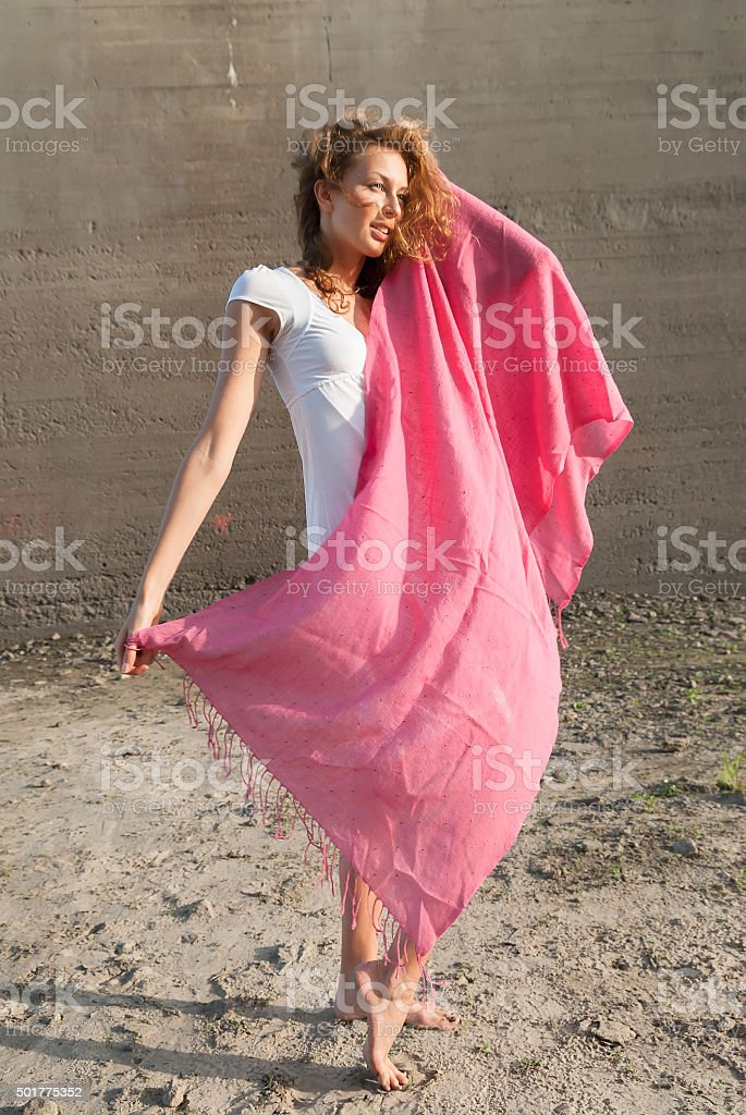 Young pretty woman with red scarf stock photo