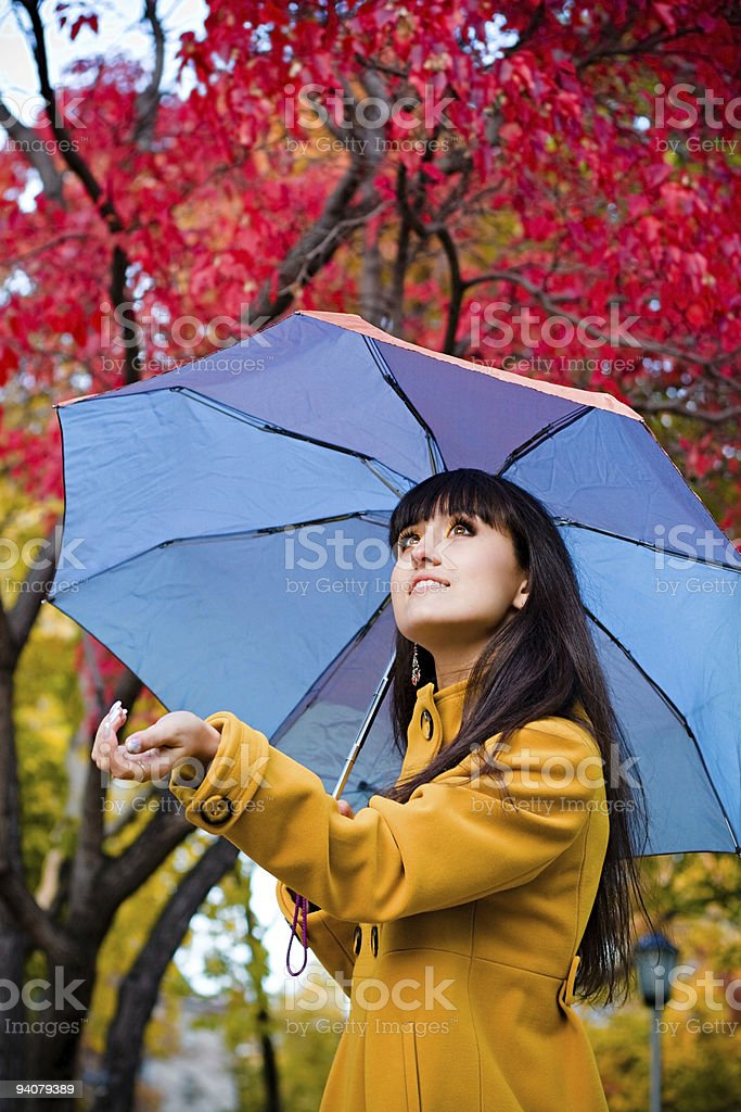 young pretty woman with umbrella royalty-free stock photo