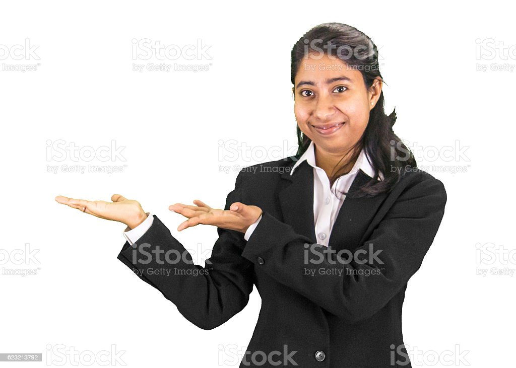 Young professional woman presenting stock photo