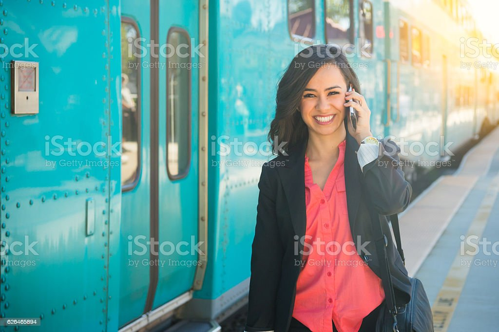 Young Professional Women Walking At The Train Station stock photo